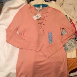 Jessica Simpson Long Sleeve Top XL Dusty Pink